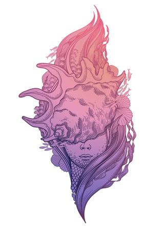 mackerel: Graphic mermaid head