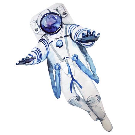 spacesuit: Watercolor astronaut in a spacesuit