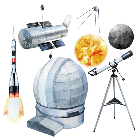 Watercolor astronomy collection Stock Photo