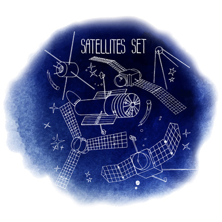 space antenna: Graphic satellites set