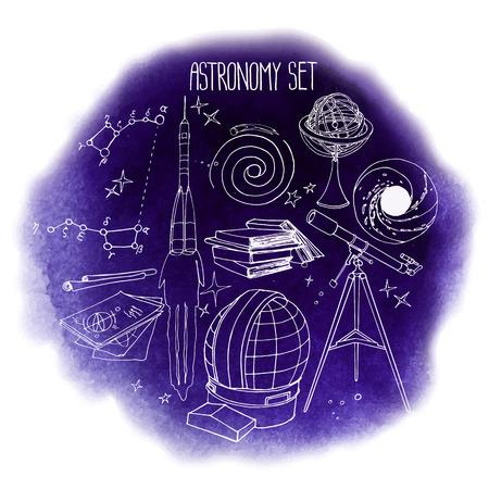 Graphic astronomy set Illustration
