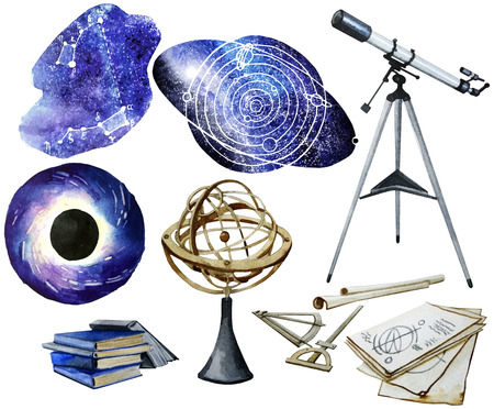 astronomy: Watercolor astronomy collection Stock Photo