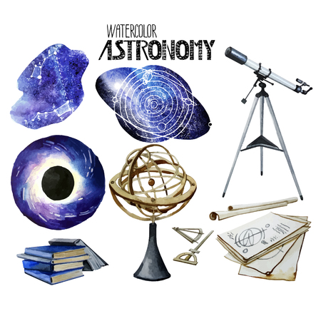 astronomy: Watercolor astronomy collection Illustration