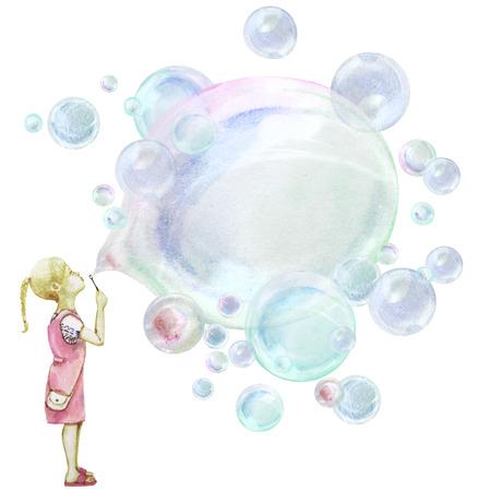 Little girl blowing soup bubbles