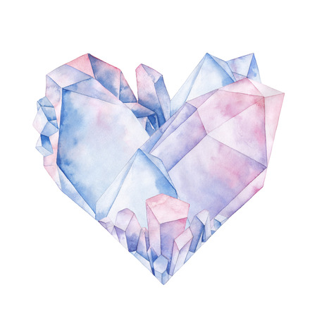 Watercolor crystal heart Stok Fotoğraf