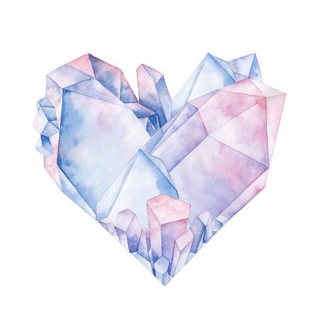 Waterverf het kristal hart