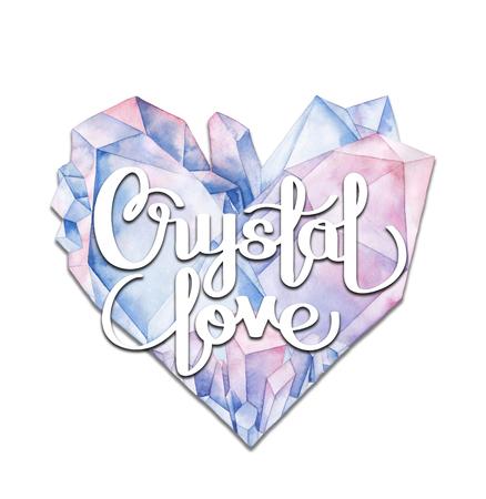 Watercolor crystal heart Stock Photo
