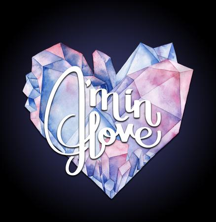 fourteen: Watercolor crystal heart Stock Photo