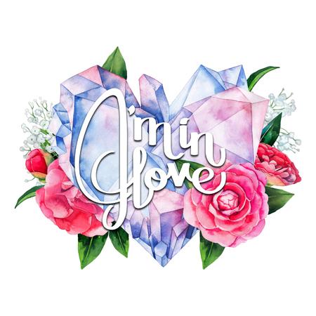 crystal heart: Watercolor crystal heart Stock Photo