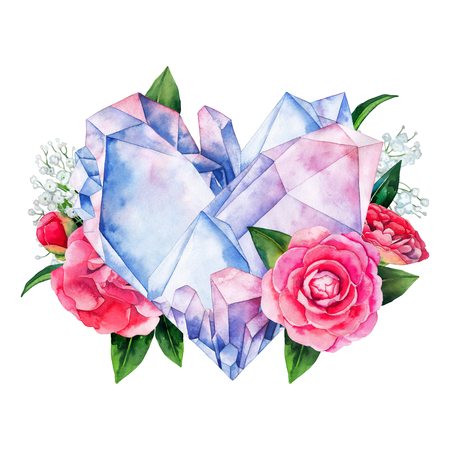 Watercolor crystals in the shape of heart with camellia decorations. Hand drawn Valentine day design in pastel colors isolated on white backgroundd Stock Photo