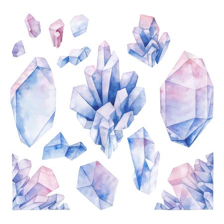 Akwarela pastelowe kolorowe kryształy Ilustracje wektorowe
