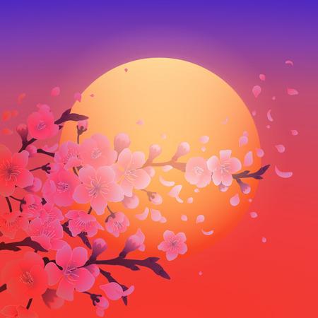 Sakura and setting sun Illustration