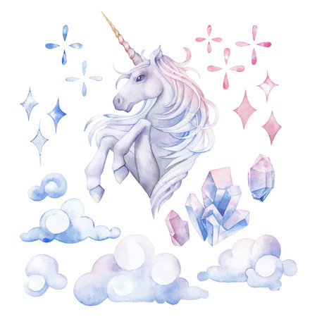 Cute watercolor unicorn.