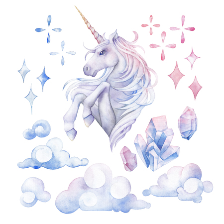 love cloud: Cute watercolor unicorn Stock Photo