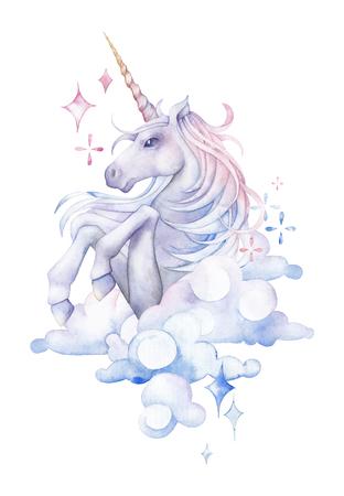 Cute watercolor unicorn 写真素材