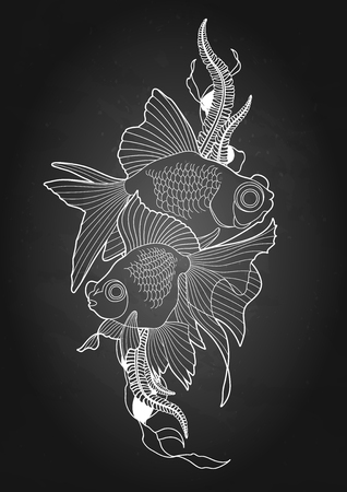 Graphic telescope fish Illustration