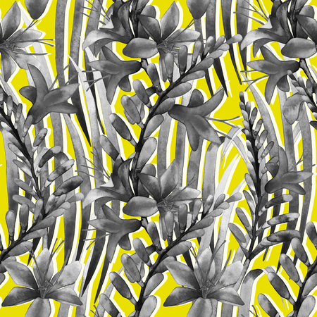exotica: Watercolor crocosmia pattern