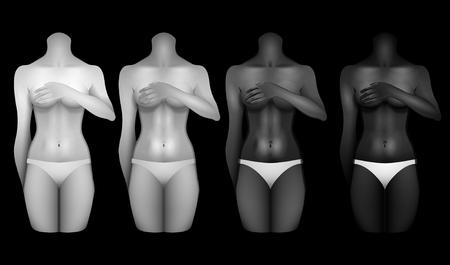 Women bodies templates on black background