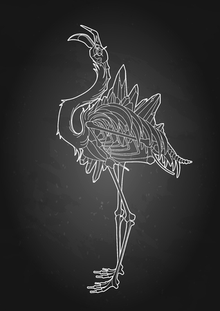 Graphic demonic flamingo Illustration
