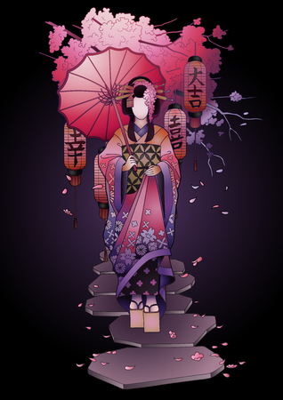 傘のグラフィックの芸者