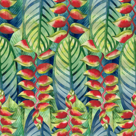 exotica: Watercolor heliconia pattern