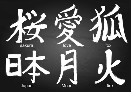 Japanese Kanji Calligraphic Words Translated As Sakura Love