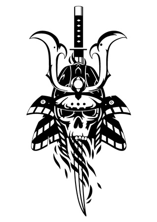 Graphic skull in traditional samurai helmet pierced with a sword. Vector tattoo art on white background.