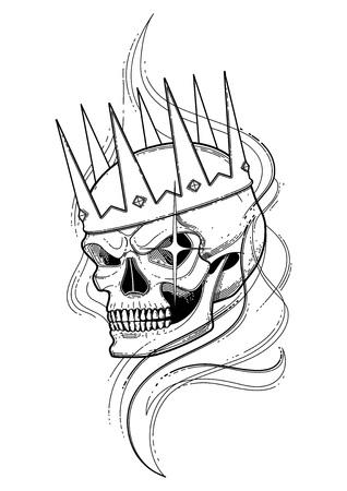Cráneo Gráfico Con Sonrisa Temerosa. Vector Patrón Transparente ...