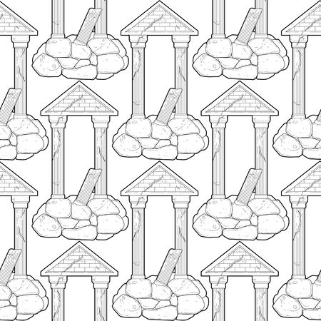 doric: Graphic half-ruined architecture with column drawn in line art style. Vector seamless pattern. Coloring book page design for adults and kids.