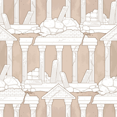roman column: Graphic half-ruined architecture with column drawn in line art style. Vector seamless pattern