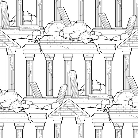roman column: Graphic half-ruined architecture with column drawn in line art style. Vector seamless pattern. Coloring book page design for adults and kids.