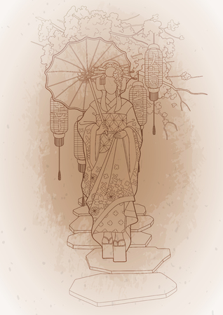 Graphic asian girl in traditional clothes with umbrella walking on the stone path among cherry branches and lanterns. Translation of the hieroglyphs -joy, great luck, happyness. Çizim