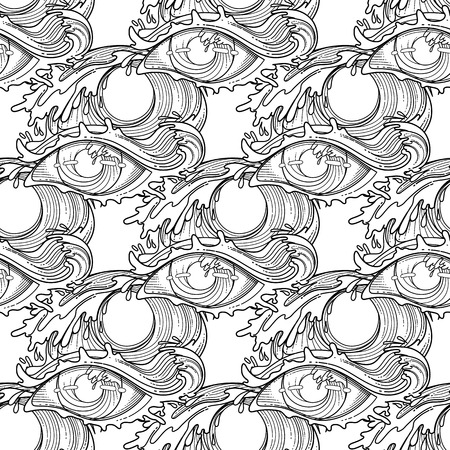 Abstract Grphic Eye Decorated With Storm Waves Sacred Geometry