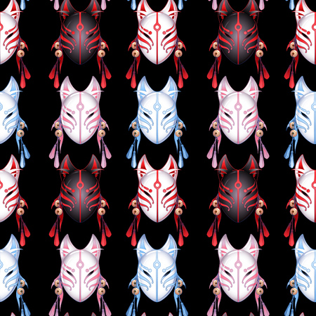 Japanese deamon fox mask in red, pink and blue colors; Vector seamless pattern