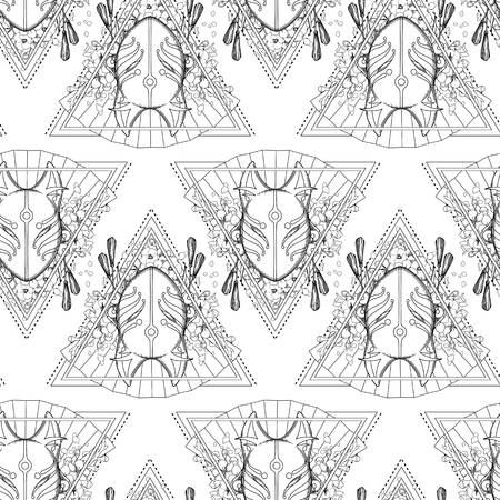Graphic mask of japanese demon kitsune, Traditional attribute of asian folklore Vector seamless pattern; Coloring book page design for adults and kids
