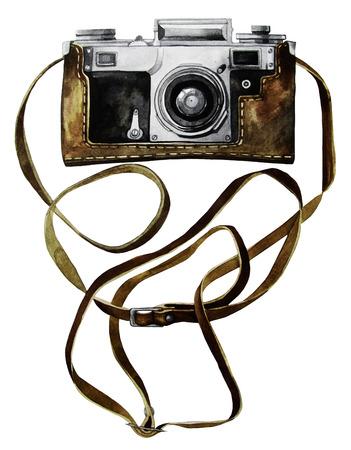 Watercolor vintage retro camera Stock Photo