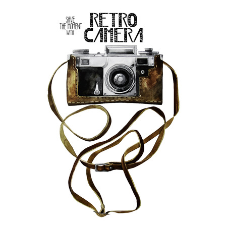 Watercolor vintage retro camera Illustration
