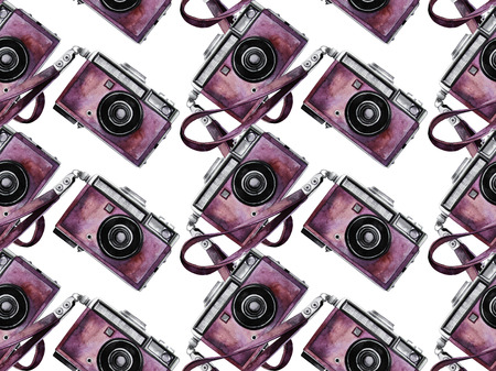 Watercolor vintage camera pattern
