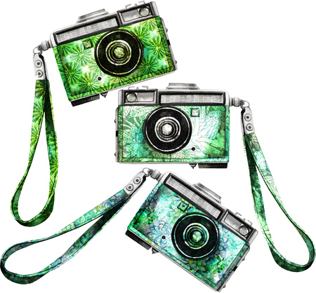Watercolor vintage retro camera Stock Photo
