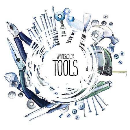 Watercolor repair tools frame Stock Illustratie
