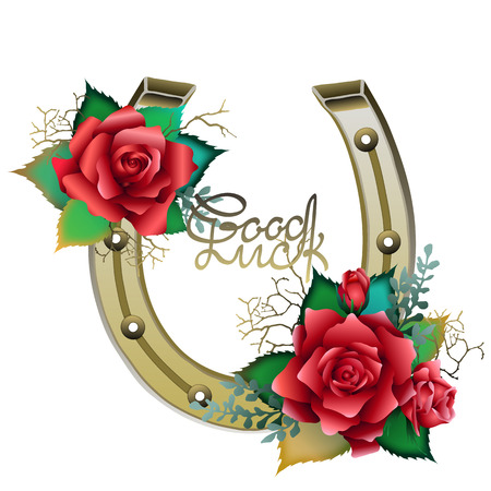 Horseshoes in golden color with red roses Illustration