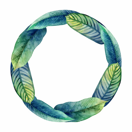 exotica: Watercolor heliconia wreath Illustration