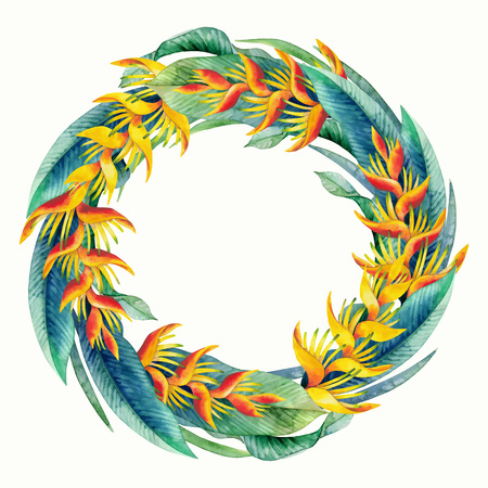 Watercolor heliconia wreath. Hand painted exotic flowers isolated on white background