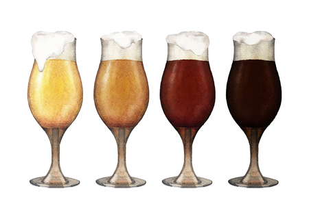 irish countryside: Four varieties of beer in tulip shaped glasses isolated on white background. Hand painted watercolor illustration of alcoholic beverages