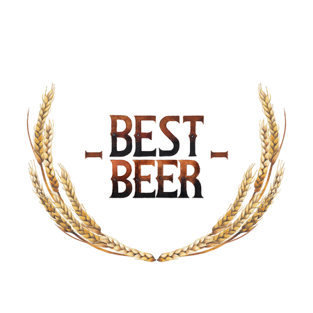 BEst beer. Vintage vignette made of malts isolated on white background. Hand painted watercolor design