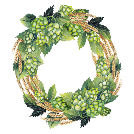 Vintage wreath made of hops and malts isolated on white background. Hand painted watercolor design
