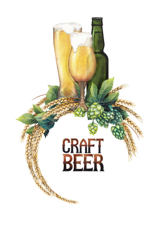 Two watercolor glasses of pale beer and green bottle decorated with malts and hops