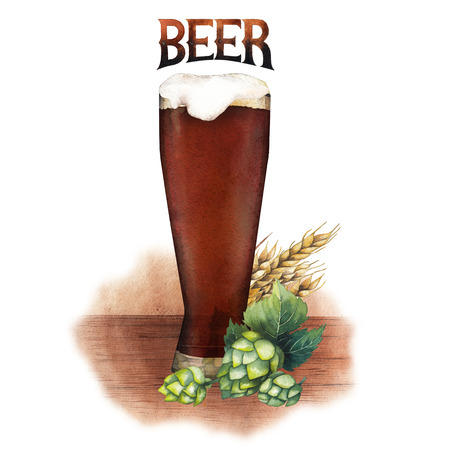 One watercolor glass of dark beer decorated with malts and hops over the wooden texture
