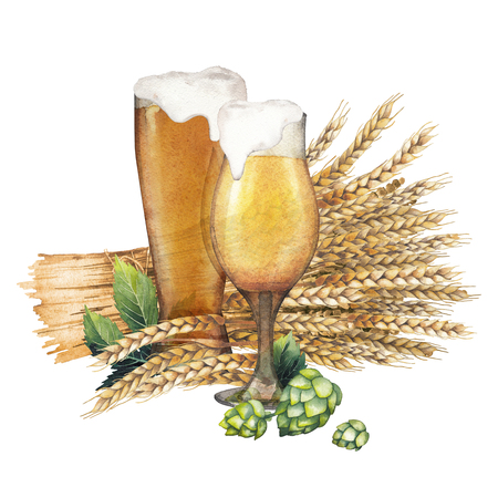 Two watercolor glasses of beer decorated with malts and hops Stock Photo