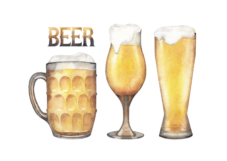 irish countryside: Glasses of pale beer of three different shapes. Hand painted watercolor illustration of alcoholic beverages